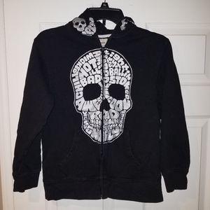 OLD NAVY Black Full Zip Skull Hoodie, L(10/12)